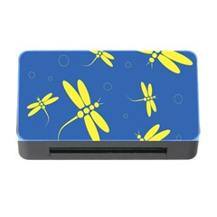 Blue and yellow dragonflies pattern Memory Card Reader with CF