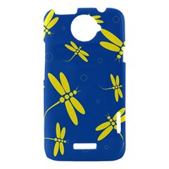 Blue and yellow dragonflies pattern HTC One X Hardshell Case