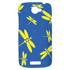 Blue and yellow dragonflies pattern HTC One S Hardshell Case