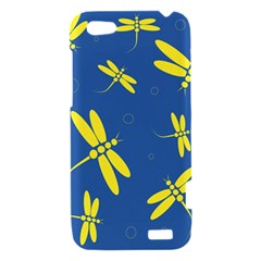 Blue and yellow dragonflies pattern HTC One V Hardshell Case