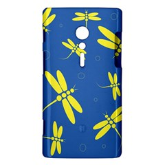 Blue and yellow dragonflies pattern Sony Xperia ion