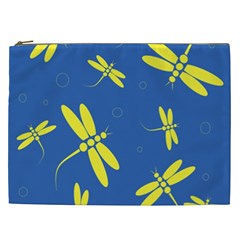 Blue and yellow dragonflies pattern Cosmetic Bag (XXL)