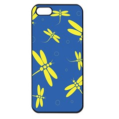 Blue and yellow dragonflies pattern Apple iPhone 5 Seamless Case (Black)