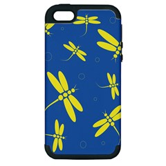 Blue and yellow dragonflies pattern Apple iPhone 5 Hardshell Case (PC+Silicone)