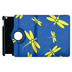 Blue and yellow dragonflies pattern Apple iPad 2 Flip 360 Case