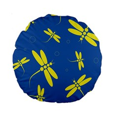 Blue and yellow dragonflies pattern Standard 15  Premium Round Cushions