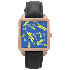 Blue and yellow dragonflies pattern Rose Gold Leather Watch