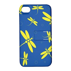 Blue and yellow dragonflies pattern Apple iPhone 4/4S Hardshell Case with Stand