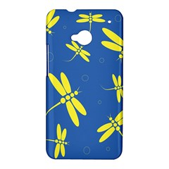 Blue and yellow dragonflies pattern HTC One M7 Hardshell Case