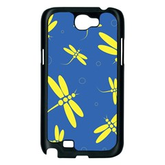 Blue and yellow dragonflies pattern Samsung Galaxy Note 2 Case (Black)