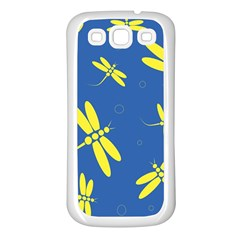 Blue and yellow dragonflies pattern Samsung Galaxy S3 Back Case (White)