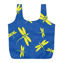 Blue and yellow dragonflies pattern Full Print Recycle Bags (L)