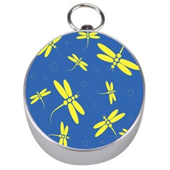 Blue and yellow dragonflies pattern Silver Compasses