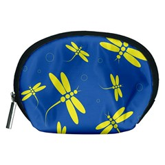 Blue and yellow dragonflies pattern Accessory Pouches (Medium)