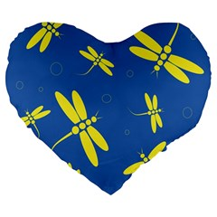 Blue and yellow dragonflies pattern Large 19  Premium Flano Heart Shape Cushions