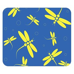 Blue and yellow dragonflies pattern Double Sided Flano Blanket (Small)