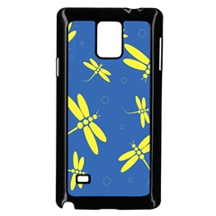 Blue and yellow dragonflies pattern Samsung Galaxy Note 4 Case (Black)