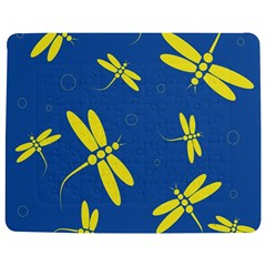 Blue and yellow dragonflies pattern Jigsaw Puzzle Photo Stand (Rectangular)