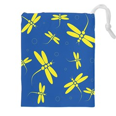 Blue and yellow dragonflies pattern Drawstring Pouches (XXL)