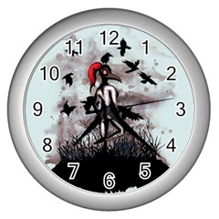 Dancing With Crows Wall Clocks (Silver)