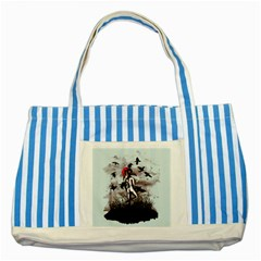 Dancing With Crows Striped Blue Tote Bag