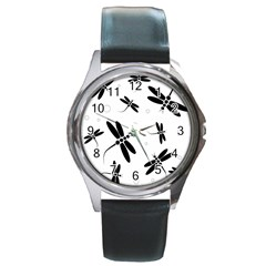 Black and white dragonflies Round Metal Watch