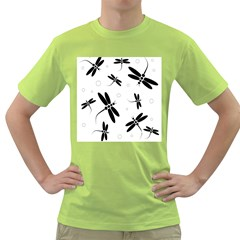 Black and white dragonflies Green T-Shirt