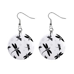 Black and white dragonflies Mini Button Earrings