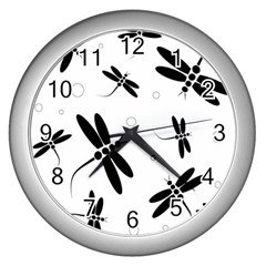 Black and white dragonflies Wall Clocks (Silver)