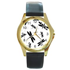 Black and white dragonflies Round Gold Metal Watch