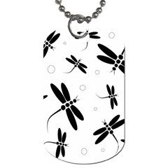 Black and white dragonflies Dog Tag (One Side)