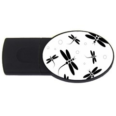 Black and white dragonflies USB Flash Drive Oval (1 GB)