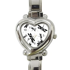Black and white dragonflies Heart Italian Charm Watch