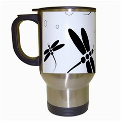 Black and white dragonflies Travel Mugs (White)