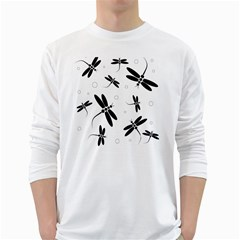 Black and white dragonflies White Long Sleeve T-Shirts