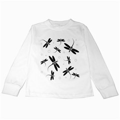 Black and white dragonflies Kids Long Sleeve T-Shirts