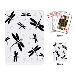 Black and white dragonflies Playing Card