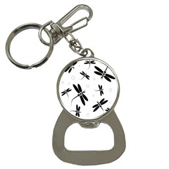 Black and white dragonflies Bottle Opener Key Chains
