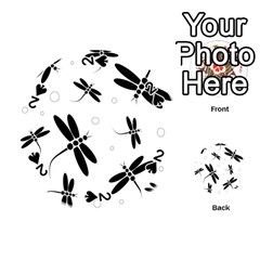 Black and white dragonflies Playing Cards 54 (Round)