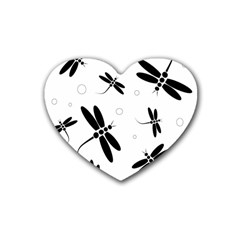 Black and white dragonflies Rubber Coaster (Heart)