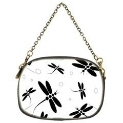 Black and white dragonflies Chain Purses (One Side)