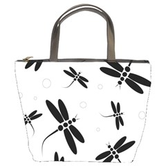 Black and white dragonflies Bucket Bags