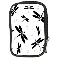 Black and white dragonflies Compact Camera Cases