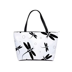 Black and white dragonflies Shoulder Handbags