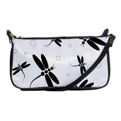 Black and white dragonflies Shoulder Clutch Bags