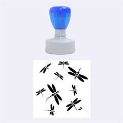Black and white dragonflies Rubber Round Stamps (Medium)