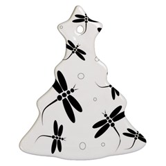 Black and white dragonflies Christmas Tree Ornament (2 Sides)