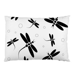 Black and white dragonflies Pillow Case (Two Sides)