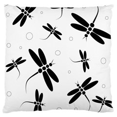 Black and white dragonflies Large Cushion Case (One Side)