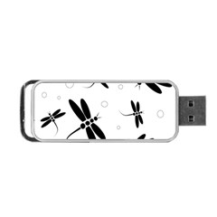 Black and white dragonflies Portable USB Flash (One Side)